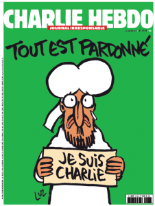 """""""All is forgiven."""" I am Charlie."""" Cover of the Jan. 14 edition of Charlie Hebdo featuring the Prophet Mohammed. Photo: Twitter."""