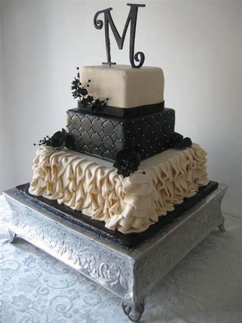 Square Wedding Cake with Fondant Ruffles   Wedding Cake