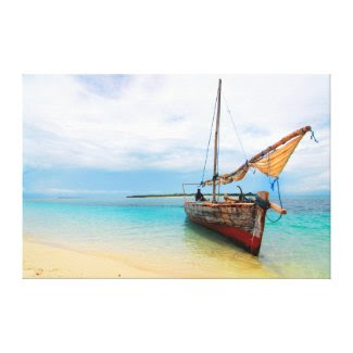 Traditional Dhow, Zanzibar, Tanzania Stretched Canvas Print