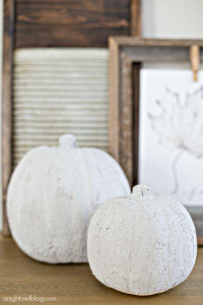 Concrete Pumpkins from A Night Owl  |  25 Creative DIY Pumpkins at www.andersonandgrant.com