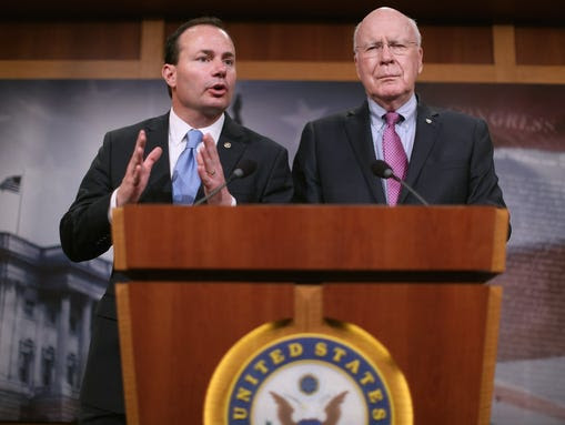 Sen. Mike Lee, R-Utah, left, and Sen. Patrick Leahy,
