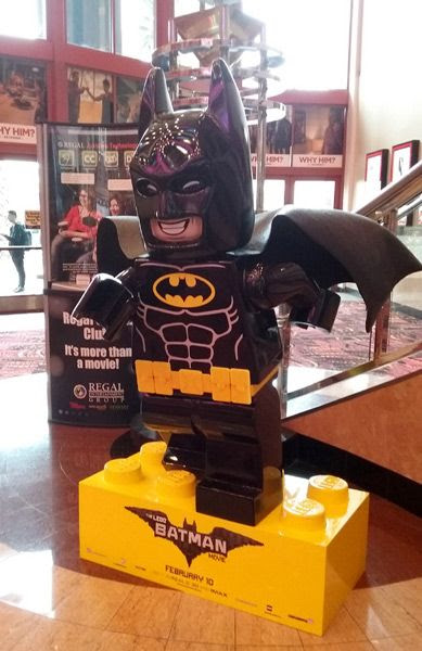 A giant display of Batman from THE LEGO BATMAN MOVIE inside Edwards Cinema at the Irvine Spectrum...on December 31, 2016.