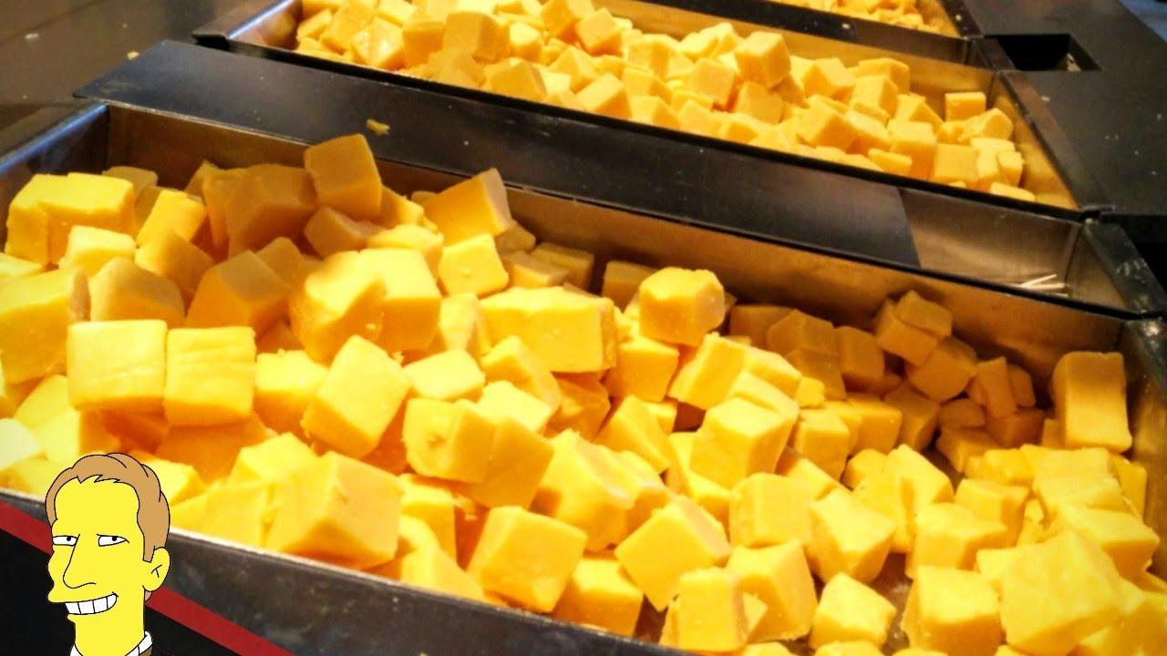 cubes of cheese for sampling at the Tillamook Creamery