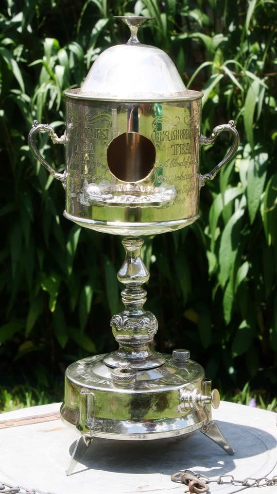 Silverplate Kerosene Lantern Trophy Birdhouse OOAK of Found Upcycled Items