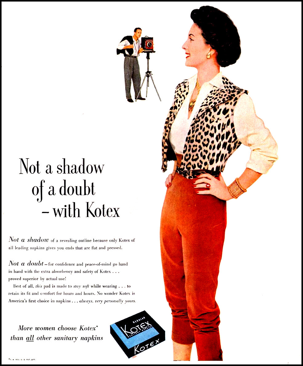 KOTEX LADIES' HOME JOURNAL 03/01/1952 INSIDE BACK