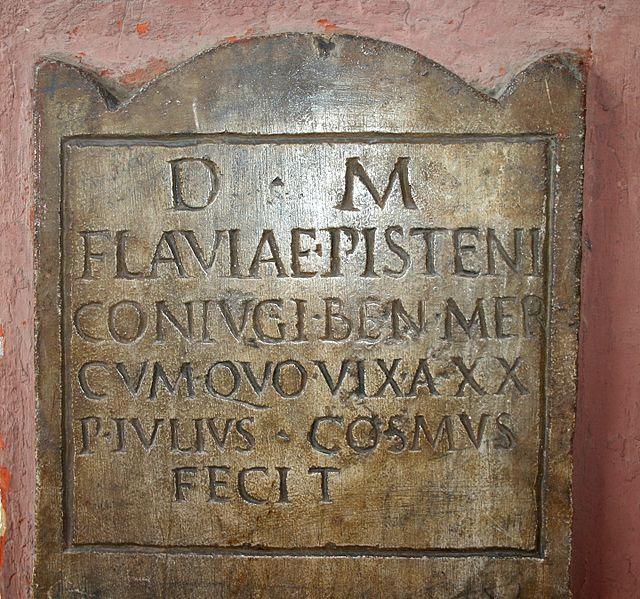 Roman gravestone made by Publius Iulius Cosmus for his wife Flavia