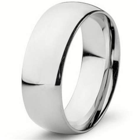 8mm Wide Pure Solid 925 STERLING SILVER Plain Wedding Band