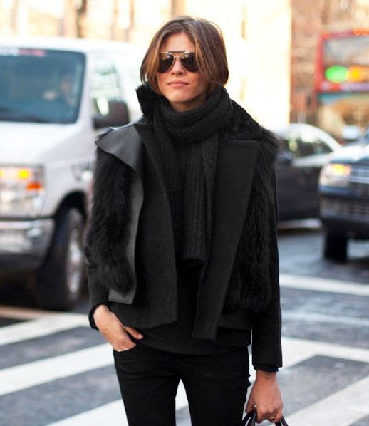 Le Fashion Blog Winter Street Style Emily Weiss Knit Scarf Fur Vest Black Coat Black Denim Via Chicago Street Style
