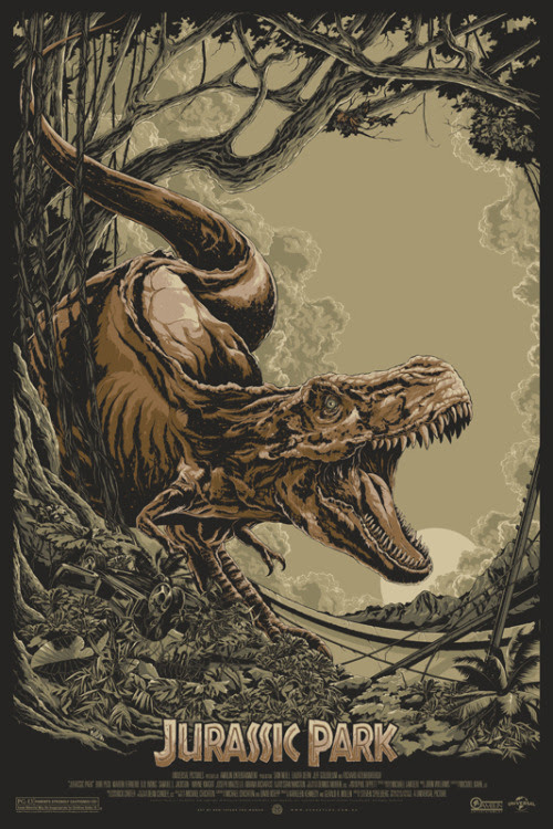 Jurassic Park by Ken Taylor<br />The latest in Mondo's series of Jurassic Park posters is a beaut.