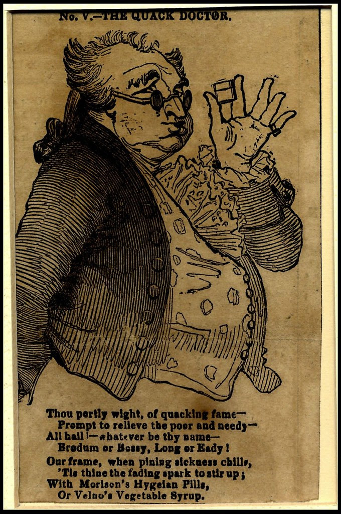 woodcut of portly sunglassed 18th c. gent holding pillbox