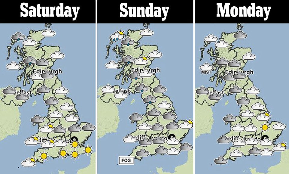 This three-day weather forecast shows the weather will be mild but not necessarily sunny, with clouds expected in the west