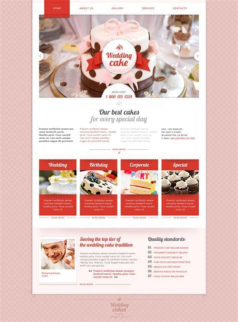 Wedding Cake Responsive Website Template #48177