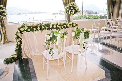 Floral decorations for civil weddings on Lake Maggiore, Italy