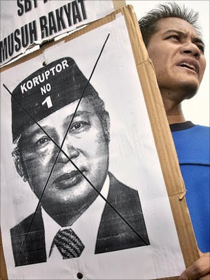 A man holds a sign showing the face of Indonesian dictator Suharto.