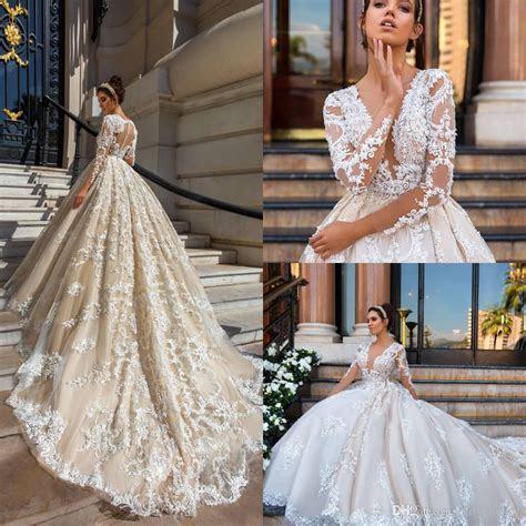 2017 New Design Sexy Deep V Neck A Line Wedding Dresses