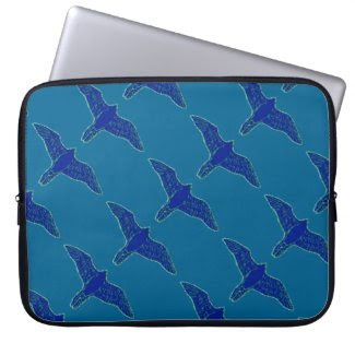 Flying Blue Falcons Design on Laptop Sleeve