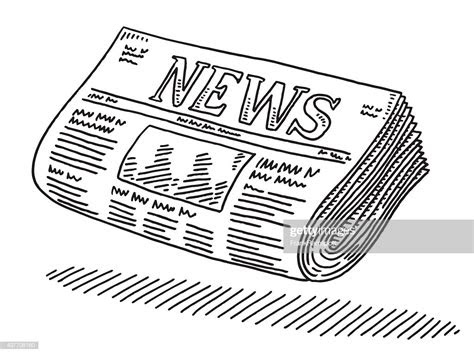 newspaper drawing vector art getty images