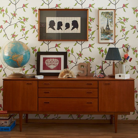 Living room with retro sideboard   Living room storage ...