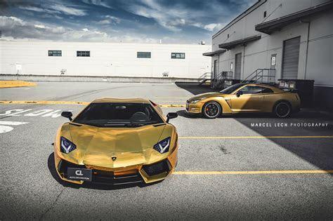 Lamborghini Aventador in Gold Chrome Wrap   front photo