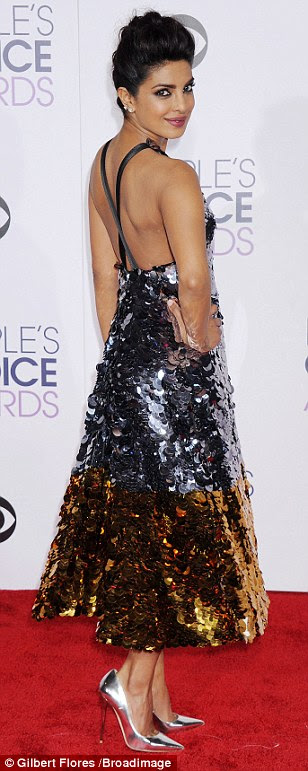 A memorable look: Quantico's Priyanka Chopra wore a Vera Wang Collection frock that was covered in silver and gold sequins