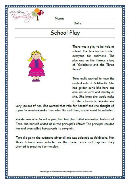 Prehensions For Grade 2 Ages 6 8 Worksheets