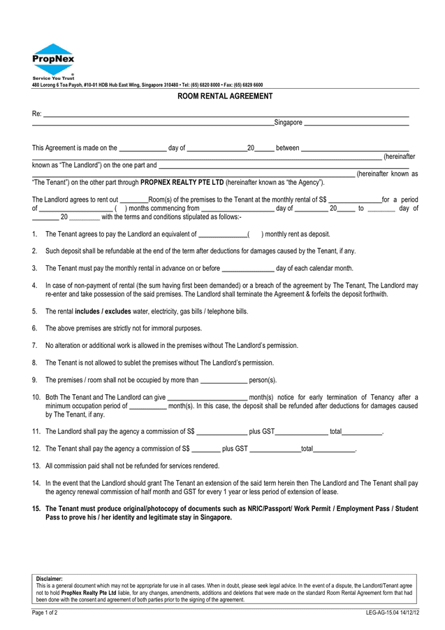 Office Room Rent Agreement Template | PDF Template