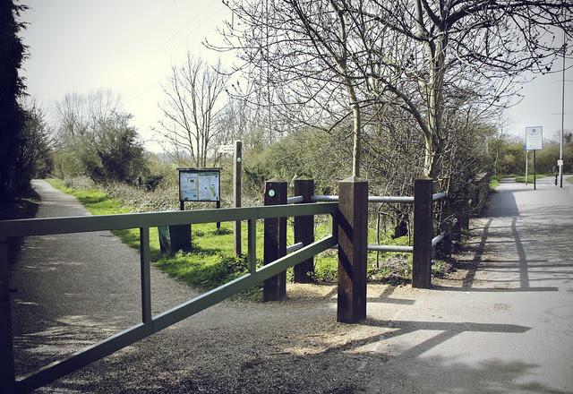Kingston Road entrance to Hogsmill River walk near Tolworth