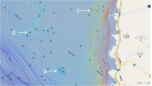 海図(海底地形図):千葉県、内房、金谷沖の釣りポイント「根」
