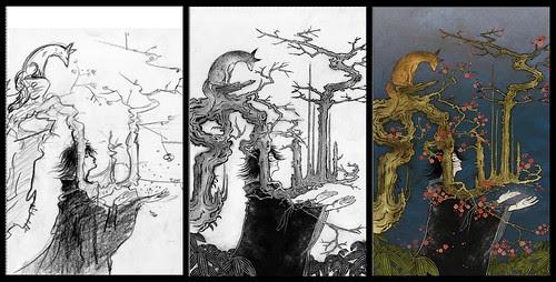(sketch, drawing and final) - Yuko Shimizu