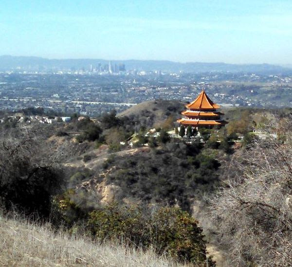 Downtown Los Angeles is visible in this view from the trial Nancy and I used for our hike in Whittier, CA...on November 24, 2014.