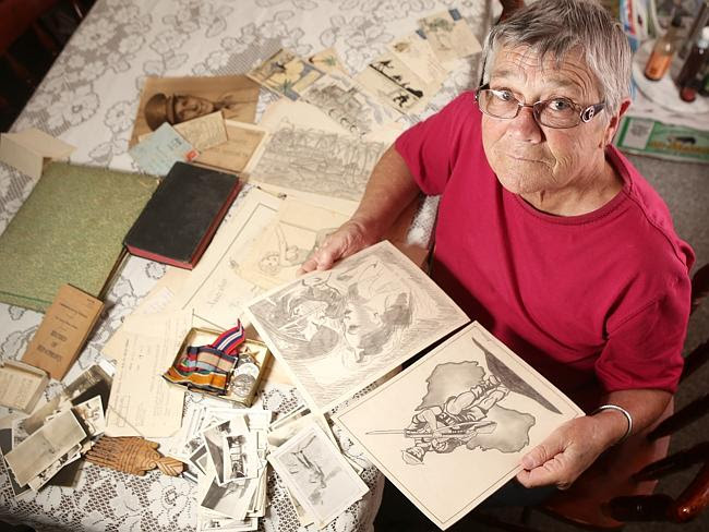 Bev Sard at her Hampstead Gardens home with her father Frank Trimmer's drawings while he