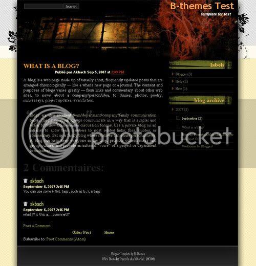 DFire black blogger template