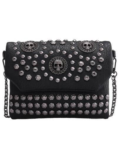 Black With Studded Skull Shoulder Bag pictures