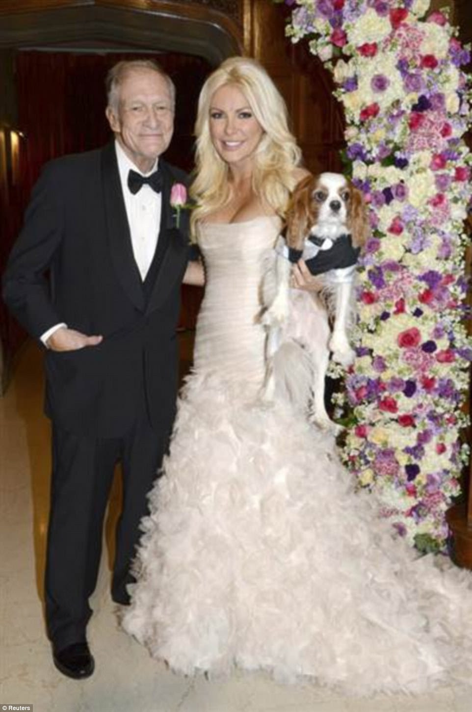The couple, who shared a 60 year age gap, tied the knot on New Year's Eve in 2012 at the Playboy Mansion in Los Angeles