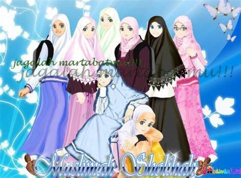 gambar kartun muslimah berdoa bergerak comel kumpulan