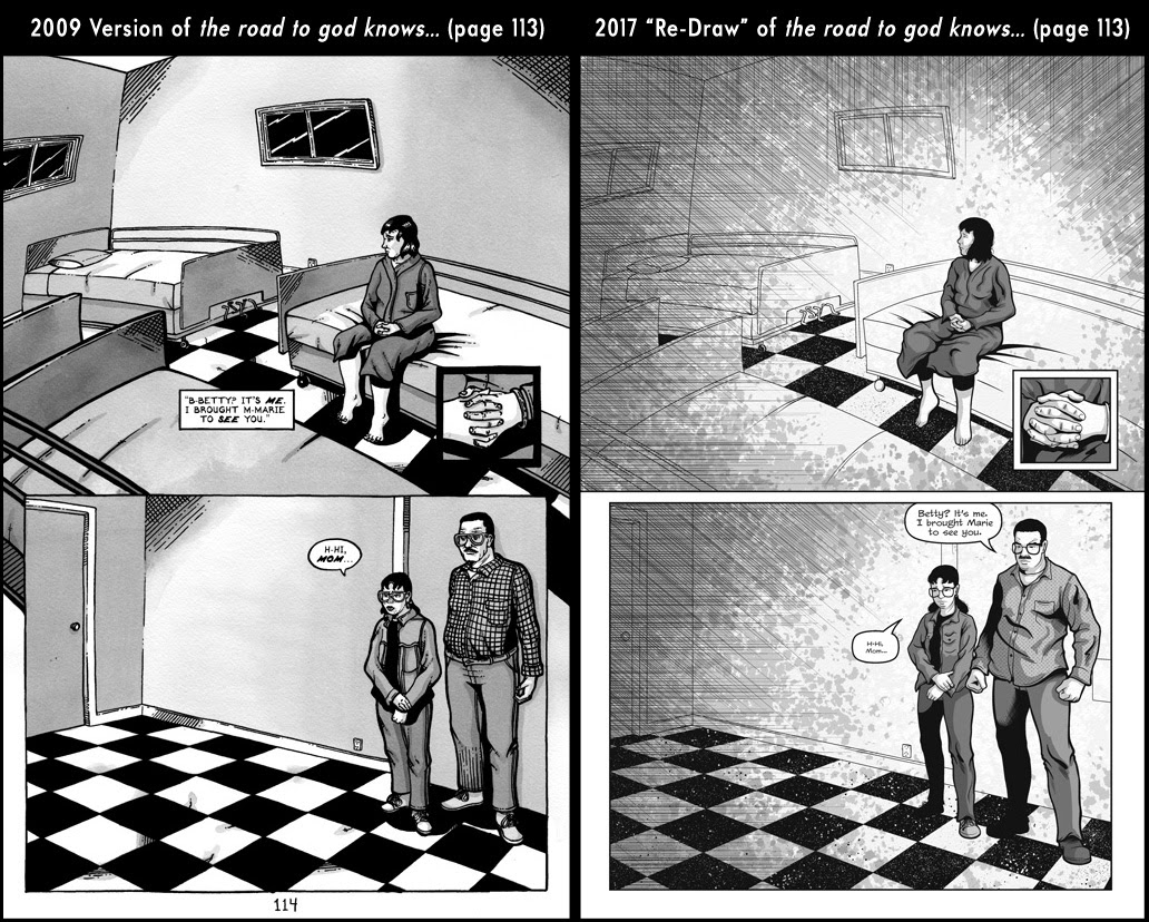 Comparison between page 113 from the 2009 published version of the road to god knows... and the 2017 redrawn version by Von Allan