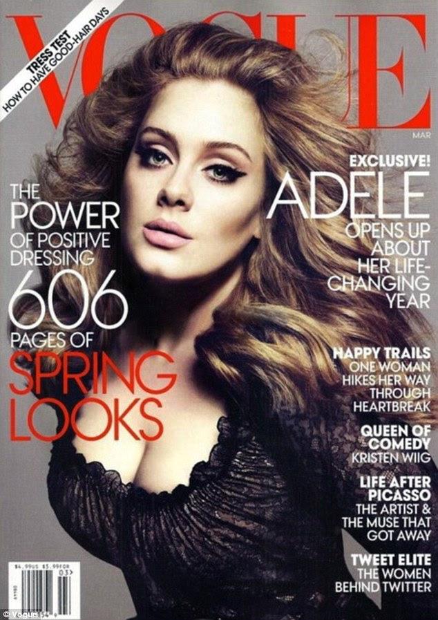 Na capa: Os leitores da Vogue vai ver Adele na 2012 edição de março da revista