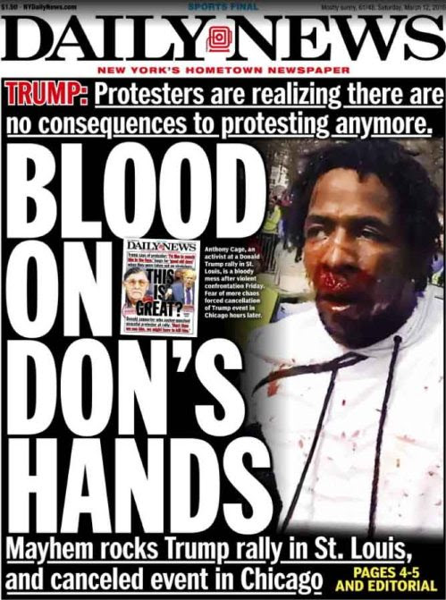 Trump campaign violence surges; rally cancelled | eats shoots 'n ...