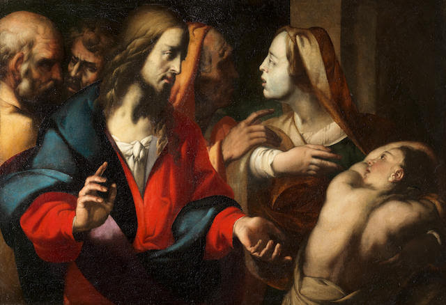 Circle of Antonio Busca (Milan 1625-1686) Christ healing the Infirm Woman