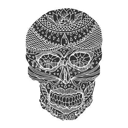 Día De Calavera De Azúcar De La Muertos Humanos Cabeza Vector Diseño