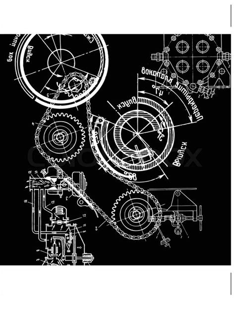 Technical drawing or blueprint on black background | Stock