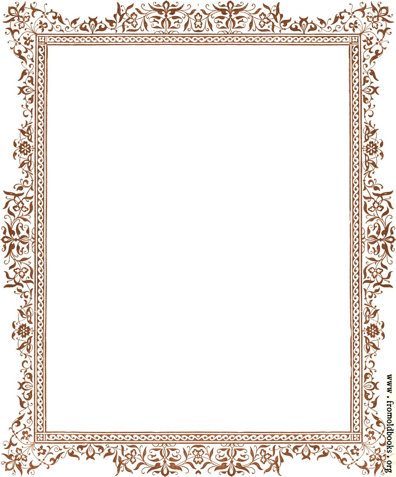 Decorative clip-art Victorian border, antique brown [image