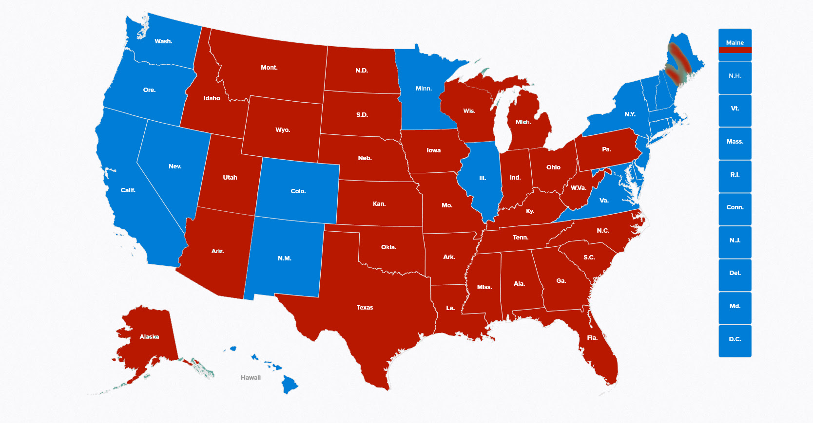 Electoral Map Trump vs Clinton 2016 President Electoral Votes Democrat Republican