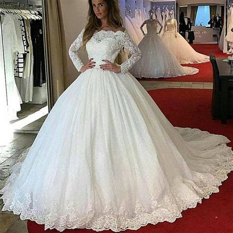 LP1245 off the Shoulder Long Sleeves Lace Ball Gown