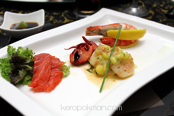 Baby Octopus, Prawn and Mango with Avocado Mousse, Salmon Sashimi, Poached Tiger Prawns