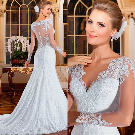 mermaid bridal dresses sexy long sleeve wedding dresses