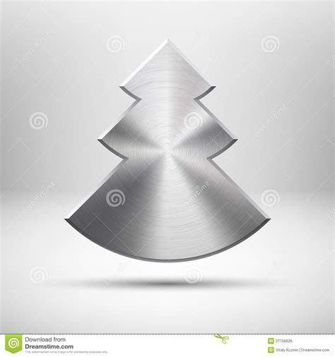 Tecnology Christmas Tree Icon With Metal Texture Royalty