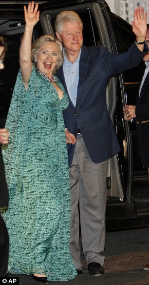 Bill and Hillary Clinton arrive for a party in honor of Chelsea Clinton and Marc Mezvinsky last night