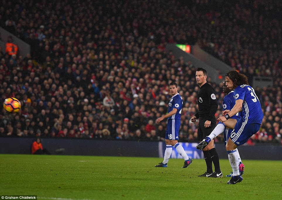 Chelsea defender David Luiz fires the visitors into the lead against the run-of-play with an audacious quickly-taken free-kick