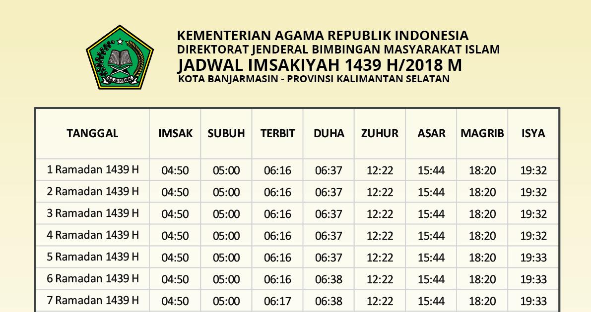 Jadwal Imsak 2019 Semarang - Flipcard Template